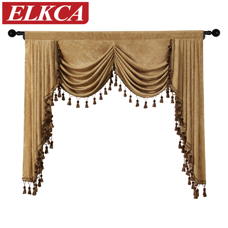 US $78.0 35% OFF|Thick Chenille Valance for Window Solid Color Curtains  Valances for Living Room European Luxury Valances for Bedroom Curtain-in ...
