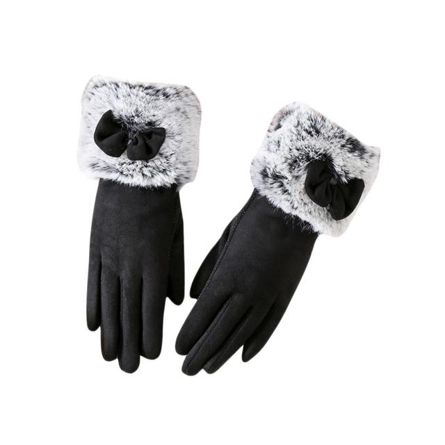 Fashionable Suede Elegant Gloves Winter Warm Driving Soft Wrist Bow Gloves Mittens Guantes Mujer High Quality Touch Screen Glove