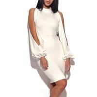 2018 Femmes Événements Haut De Gamme De Bal Mode Nova Élégant Blanc Cut Out Manches Longues Col Haut Cold Shoulder Bandage Mini Moulante robe