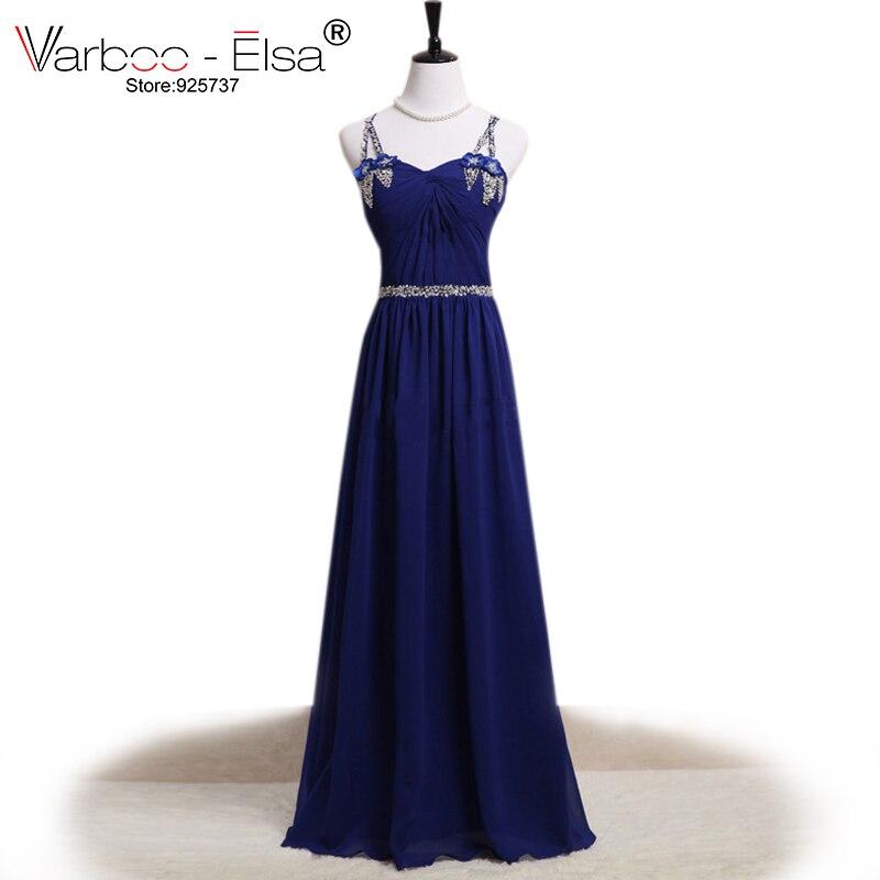 Bleu Royal robe V-cou élégant longue robes de soirée paillettes beadling bretelles spaghetti une ligne robe pour le mariage parti mousseline de soie