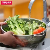 Wash basket stainless steel drain basket sieve large kitchen strainer creative circular thickened fruit plate