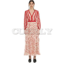 купить Cuerly Summer Elegant Lace Cotton Dress 2019 V-neck Lantern Sleeve Ruffles Dresses Self Portrait Women Runway Designer Dress по цене 3877.39 рублей