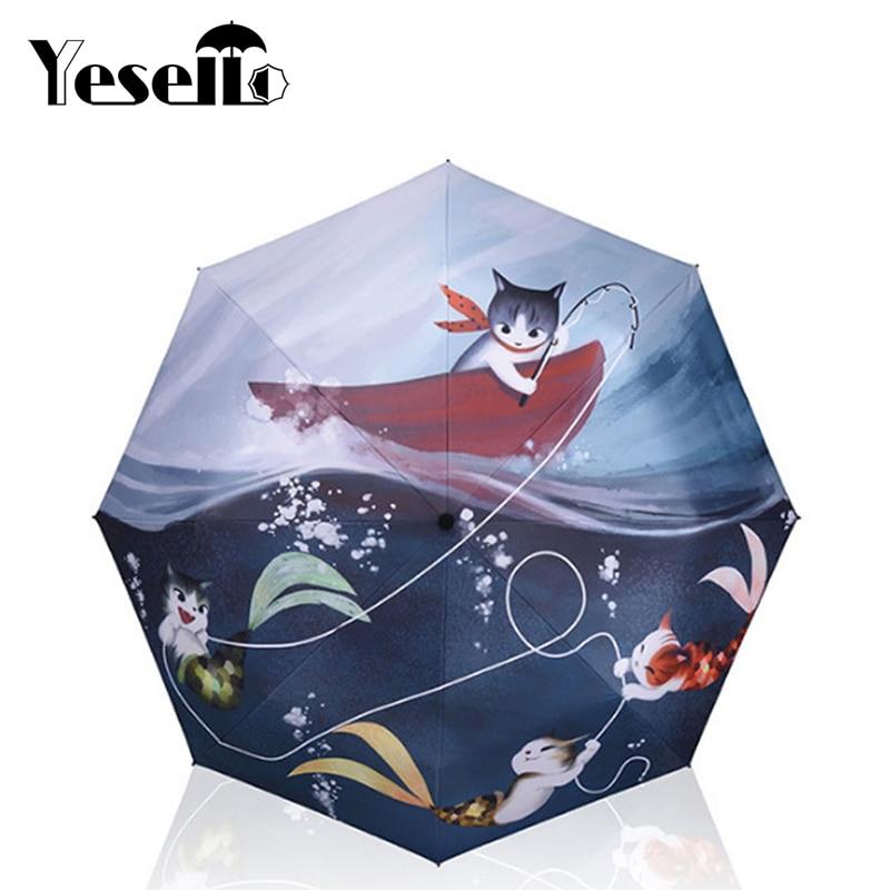 Yesello Cat Fish Printed 3 Folding Women Umbrella Sunny Rainy Manual Umbrellas Rain Gear