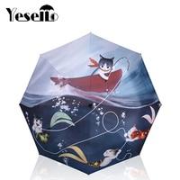 Yesello gato peixe impresso 3 dobrável feminino guarda chuva ensolarado chuvoso manual guarda chuvas chuva engrenagem|Guarda-ch.| |  -