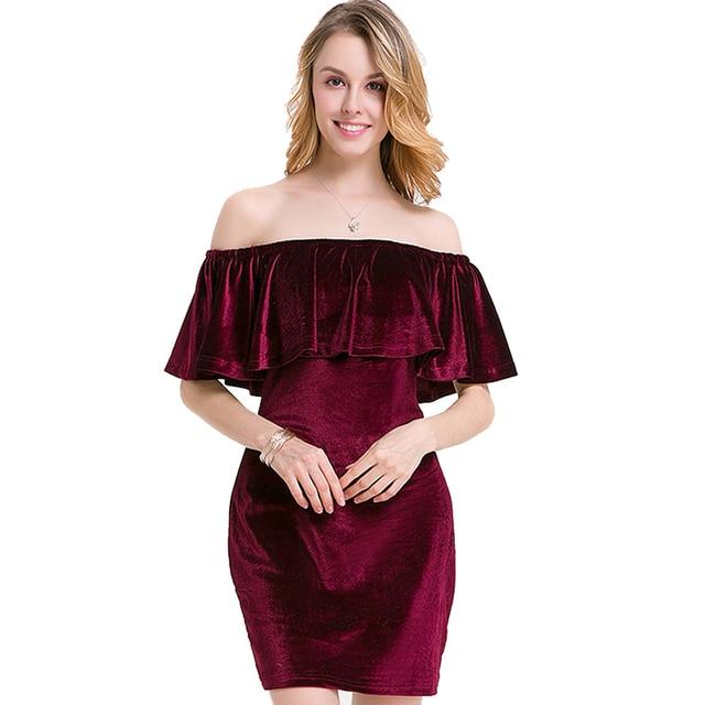76a440795c Sales Sweet Girls  Dress Cloak Sleeves Pleuche Slash Neck Dress Female  Casual Dress Short Summer Gowns Lady Wine Red Clothes