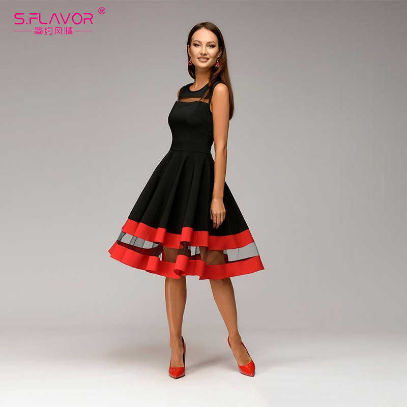 Женское платье-трапеция без рукавов S.FLAVOR, облегающее винтажное элегантное платье с О-образным вырезом, праздничное платье для лета 2019