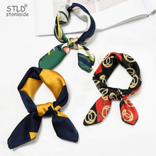 2019NEW Silk Scarf Women Print Foulard Female Neckerchief Small Bandana Square Scarves Skinny Retro Head Neck Satin