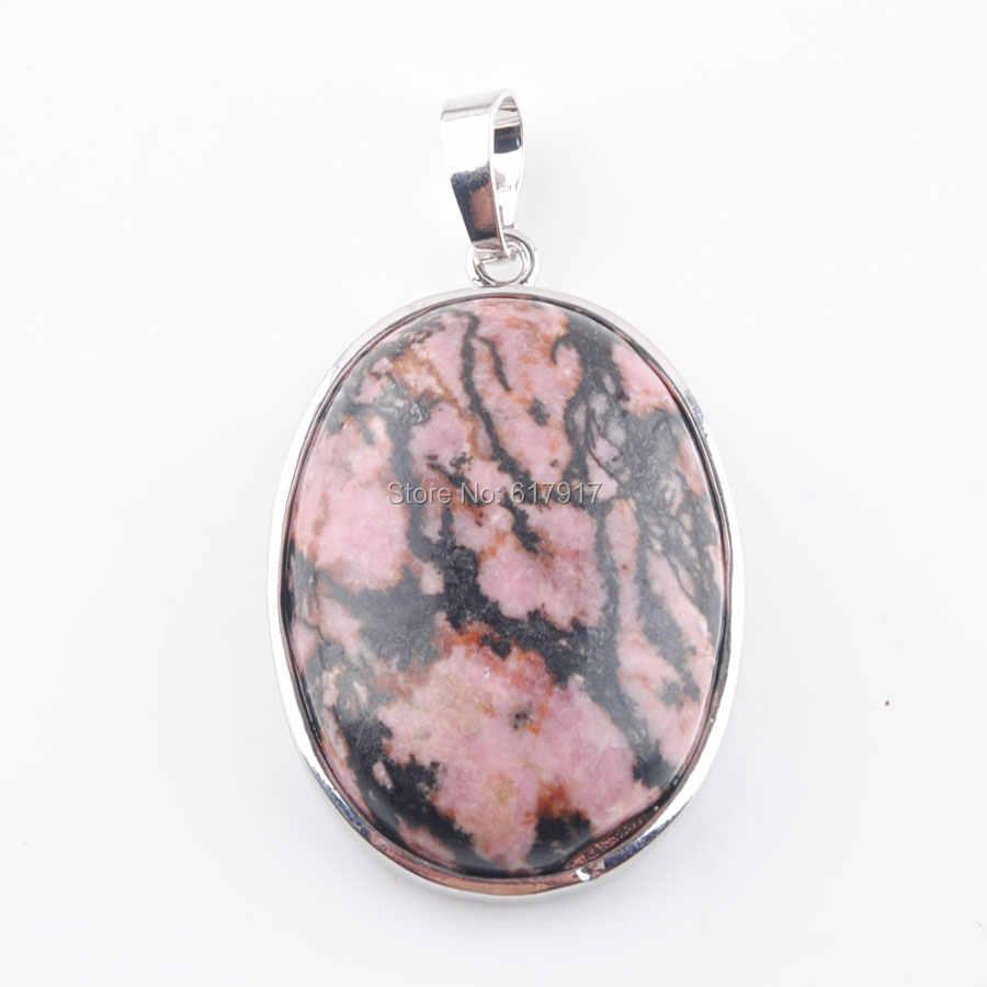 RONGZUAN wisiorki naszyjniki naturalne Rhodochrosite owalny klejnot kamień koralik tworzenia biżuterii DIY zawieszenie wisiorek dla naszyjnik TN3682