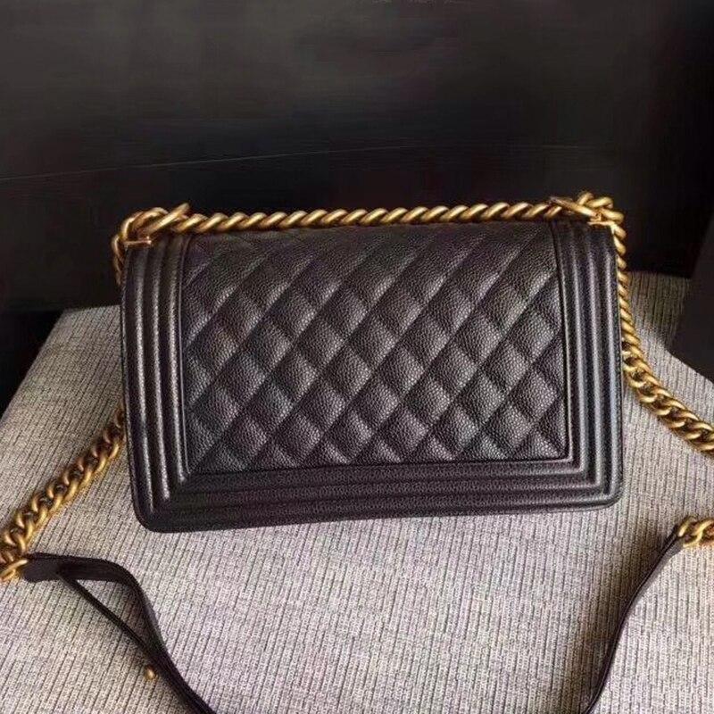 Marque de luxe Le garçon sac femmes en cuir véritable agneau sacs à main Top qualité Designer vache Caviar bandoulière Messenger chaîne sacs 25 cm
