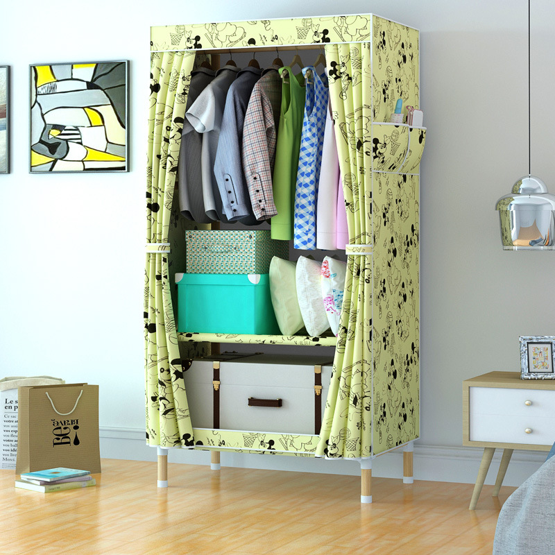 Simple Simple en bois massif tissu placard assemblage en bois massif placard armoire Portable meubles salle armoires