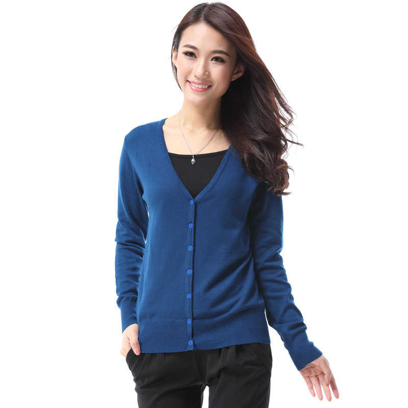 Online Shop Women Button Down Long Sleeve Basic Soft Knit Cardigan ...