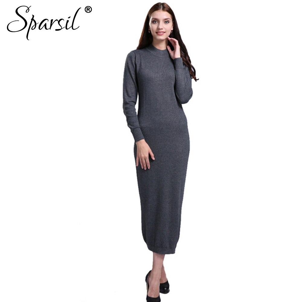 Sparsil mujeres de invierno manga larga cashmere blend dress otoño de la señora