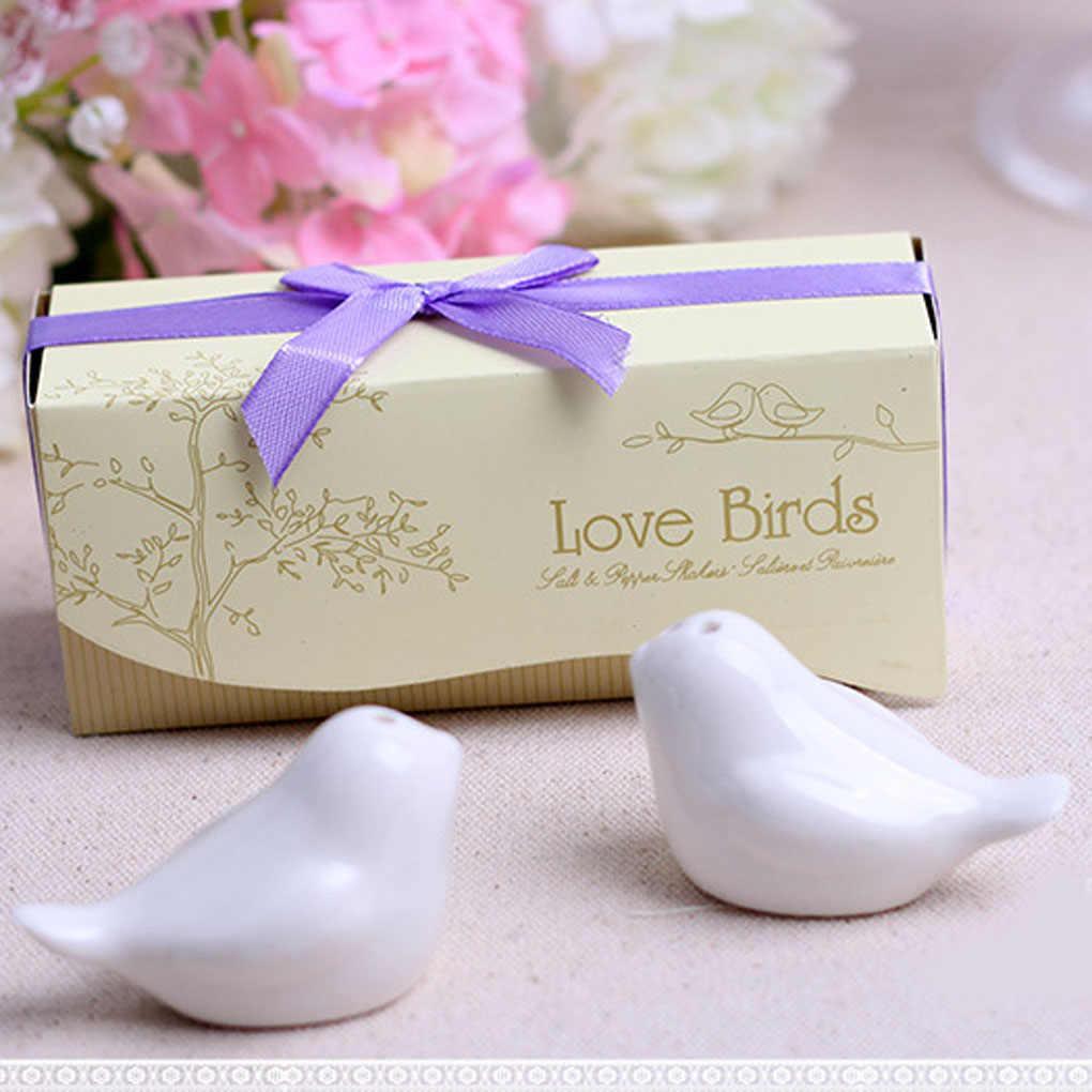 2 Buah/Bungkus Cinta Burung Keramik Shaker Rempah-rempah Jar Bumbu Dapur Alat Pesta Pernikahan Hadiah Burung Garam Merica Shaker Alat Dapur