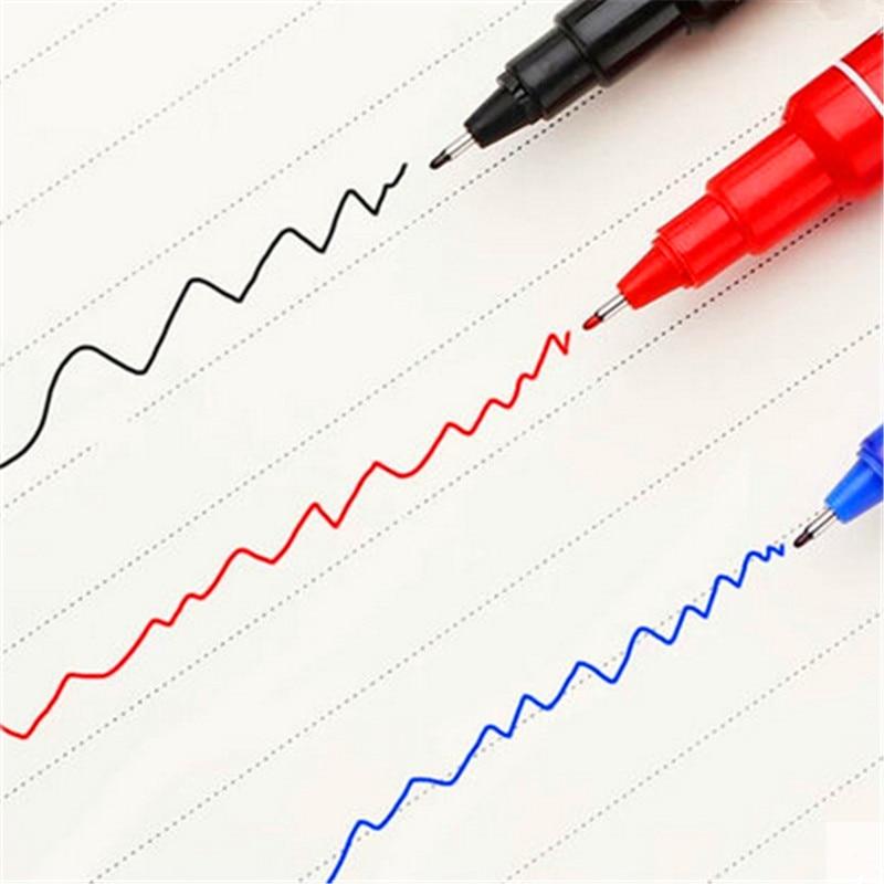 High quality 6824 Waterproof permanent dual tip  0.5/1.0 mm Nib Black blue red Art Marker Pens Student school office stationery 4
