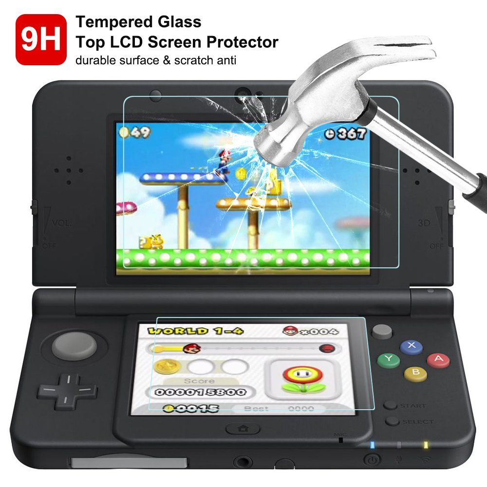 For New 3DS 9H Tempered Glass Film For Up Screen + PET Bottom Protector Guard Cover For Nintend New 3DS Game Console Accessories