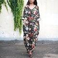 Nova moda 2017 runway designer spring summer dress mulheres three quarter sleeve botão colorido de linho elegante floral print dress