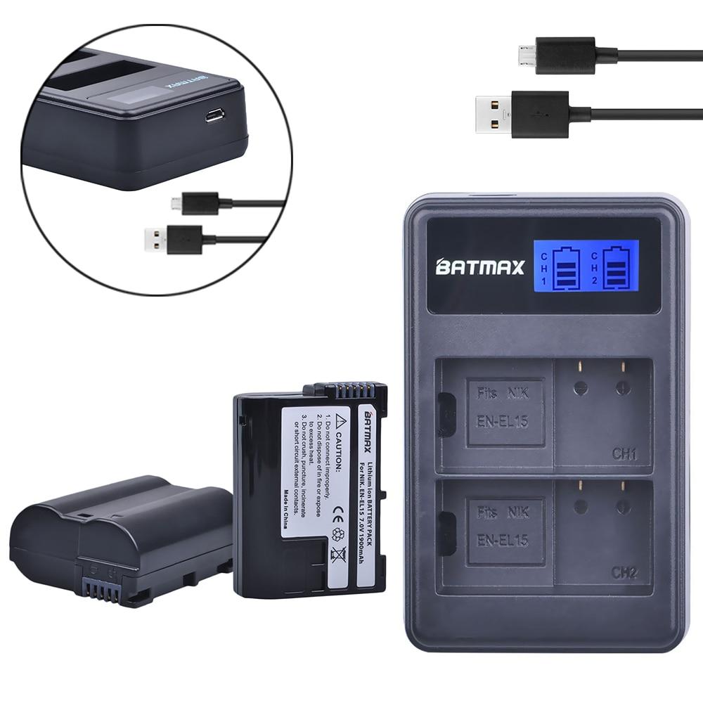 2Pcs EN-EL15 EN EL15 ENEL15 EL15A Batteries + LCD Dual USB Charger for Nikon D600 D610 D600E D800 D800E D810 D7000 D7100 d750 V1