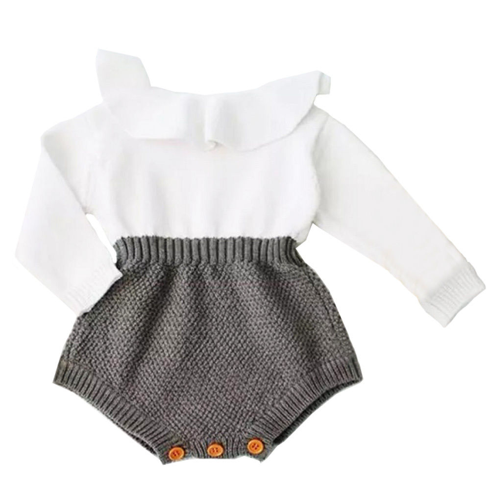 0720636fe Infant Baby Girls Fall Winter Warm Hot Sale Long Sleeve Patchwork Knitted Romper  Outfits Clothes 0-24M