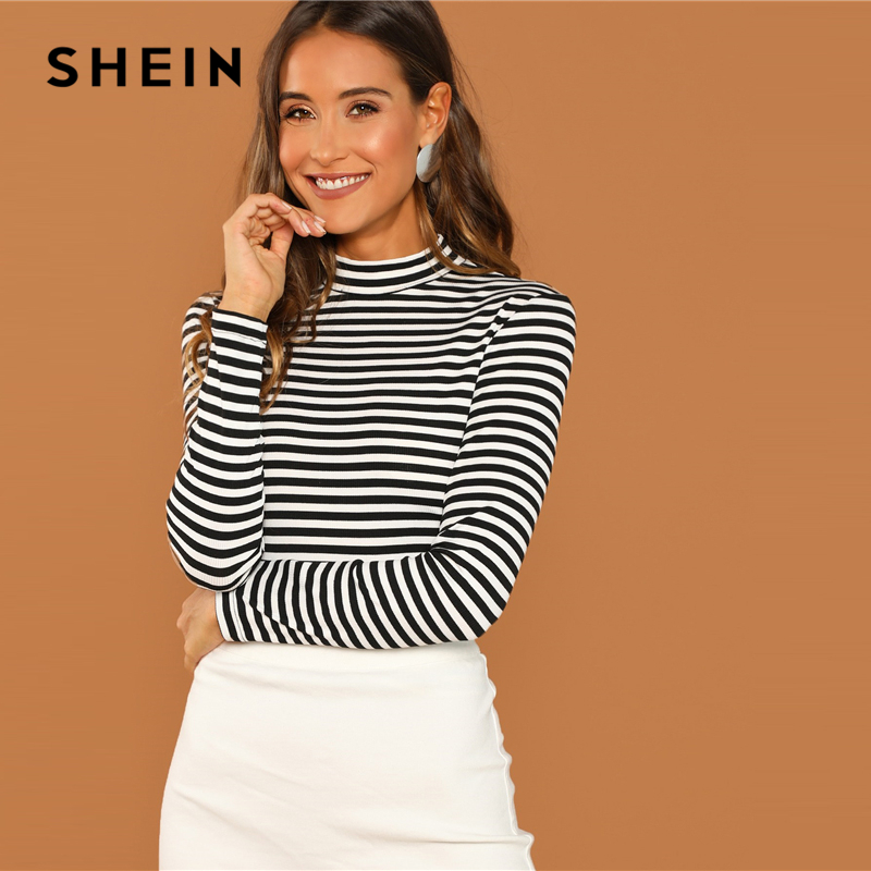 SHEIN Modern Lady Black and White Slim Fit Mock Neck High Neck Striped Rib Knit T shirt 2018 Autumn Campus Women Tshirt Top|T-Shirts| - AliExpress