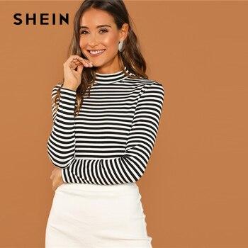 Shein moderno senhora preto e branco fino ajuste mock pescoço alto listrado costela malha camiseta 2018 outono campus feminino tshirt topo