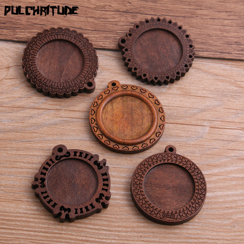 PULCHRITUDE 5pcs/lot 25mm Inner Size New Product 5 Style Round Wood Cabochon Base Setting Charms Pendant Necklace Findings P6943PULCHRITUDE 5pcs/lot 25mm Inner Size New Product 5 Style Round Wood Cabochon Base Setting Charms Pendant Necklace Findings P6943