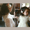 2017 Girls dress Lace White long sleeves Princess dresses Spring Summer Korean style Children Kids girls clothes for 2-8 Years