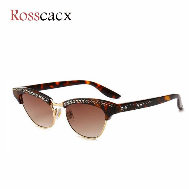 Rosscacx Retro Diamond Sunglasses Women Rhinestone Decoration Brand Designer Half Frame Sun Glasses Rendy Shades Ladies Eyewear