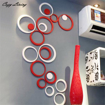5PCS 3D Removable Indoors Decoration Circles Creative Stereo Wall Stickers-Free Shipping