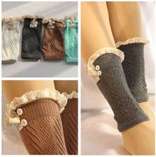 Women Fashion short Crochet Knitted Boot Cuffs Laced Trim Toppers Boot Socks leg warmers booty Gaiters 26pairs/lot #3868(China)