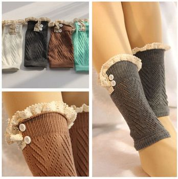Women Fashion short Crochet Knitted Boot Cuffs Laced Trim Toppers Boot Socks leg warmers booty Gaiters  26pairs/lot #3868