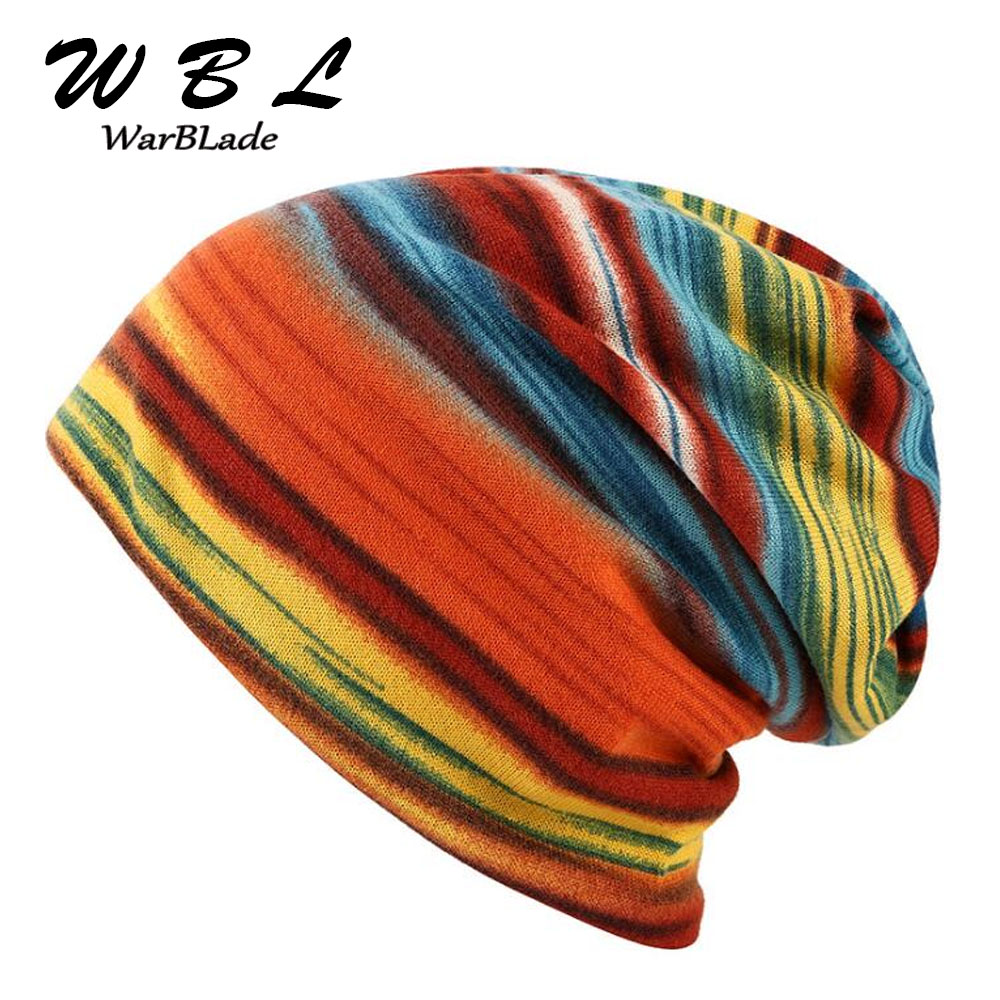 Fashion Spring Women's Hat Turban Autumn Winter Warm Headdress Caps Colorful Striped Scarf Sport Sunscreen Beanies Accessories