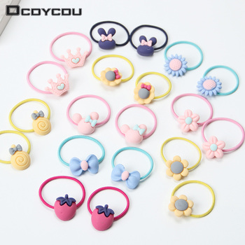 20PCS New Fashion Frosted Elastic Rubber Hair Bands Girls Floral Ponytail Holders Headband Cartoon Mixing Elastic Hair Rings