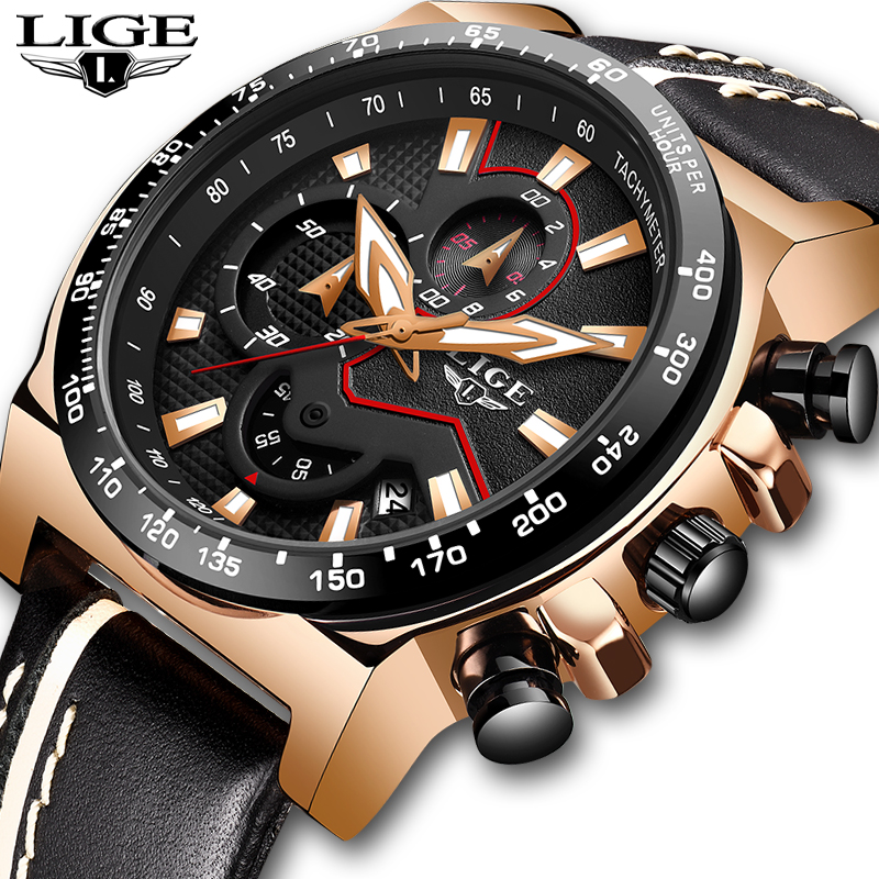 2019 LIGE Watches Men Luxury Brand Quartz Chronograph Watch Fashion Sport Automatic Date Leather Men's Clock Relogio Masculino