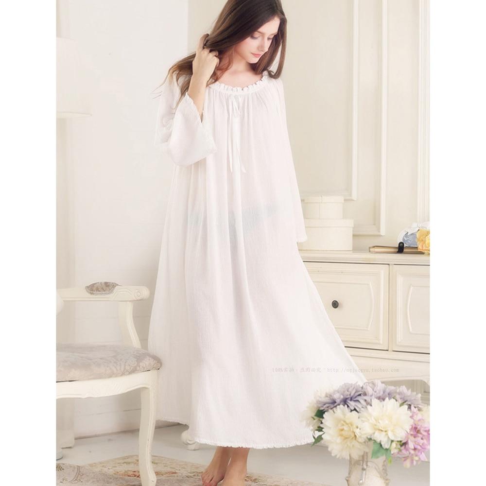 Retro Princess Nightgowns Pure Cotton Comfortable Long ...