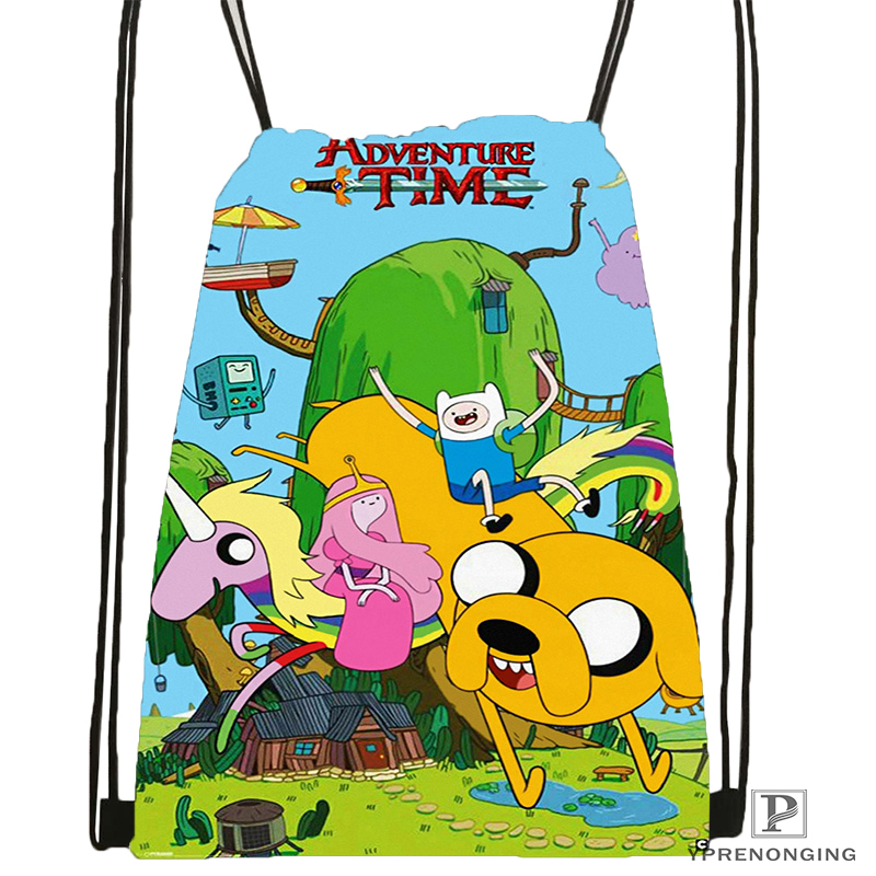 Custom Adventure-time Drawstring Backpack Bag Cute Daypack Kids Satchel (Black Back) 31x40cm#2018611-1(14)