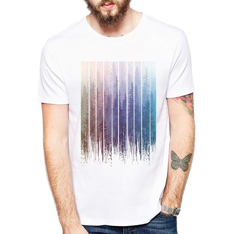 Date Mode Grunge Gouttes Arc-En-Forêt Brumeuse Conception Hommes t-shirt D'été À Manches Courtes Casual Tops Hippie T-shirts