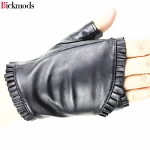 2017 female gloves short leather wrinkled lace style semi pointed sheepskin sports ride driving
