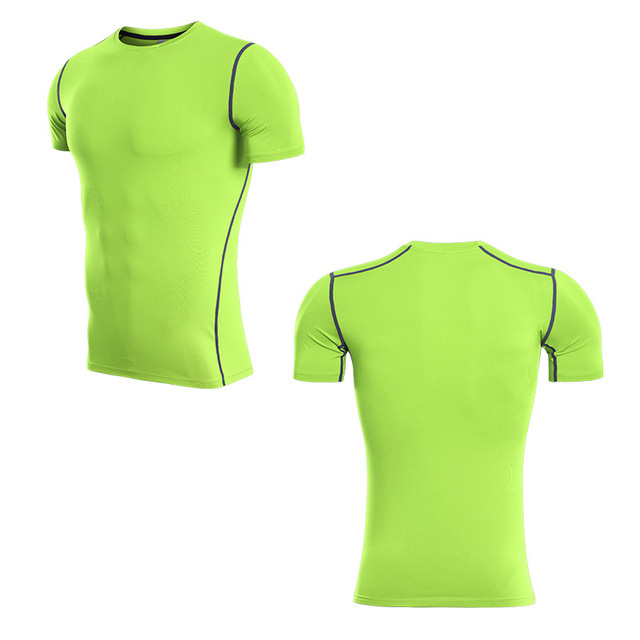 e8e89b661 2018 Quickly Dry Compression Gym Running Shirt Fitness Tights Polyester  Sport pure color Rugby Jersey Men'S Short Sleeve T-Shirt