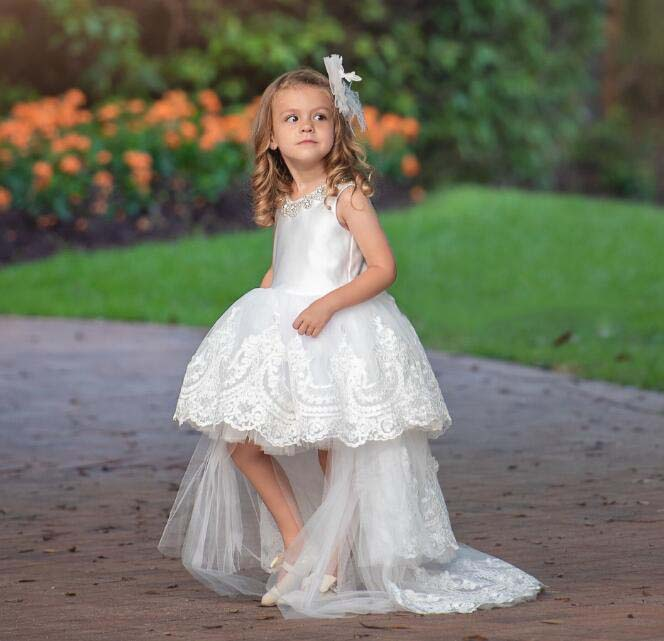 White/ivory high low toddler flower girl dresses crystals jewel rhinestones V-neck with lace long train for wedding and partyWhite/ivory high low toddler flower girl dresses crystals jewel rhinestones V-neck with lace long train for wedding and party