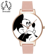 Mickey Mouse Women's Watches Fashion Quartz Wristwatches  Casual Cartoon Leather Clock Girls Kids Child watch Relogio Feminino cute hello kitty watch kids quartz leather child watches cartoon lovely girls children clock feminino relojes relogio saati