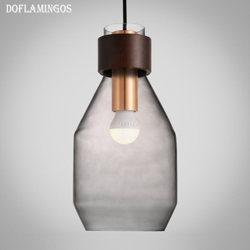 Newrays Simple Modern Contemporary hanging Wood Glass ball Pendant Lamp Lights Fixtures Gray Yellow Blue