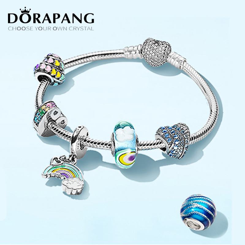 DORAPANG 100% 925 Sterling Silver Brand New Bracelet Set Natural Inspiration Calm Waves After Rain Sky And Rainbow DIY Original dorapang 100