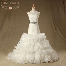 Rose Moda Organza Mermaid Wedding Dress with Crystal Sash