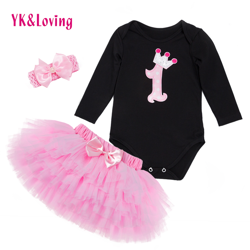 Baby Girl Clothing Sets Black Bodysuit jumpsuits Girls Pettiskirt Set Pink Princess Tutu Skirt Headband Newborn Clothes