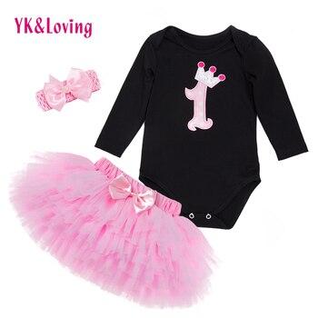 Baby Meisje Kleding Sets Zwart Bodysuit jumpsuits Meisjes Pettiskirt Set Roze Prinses Tutu Rok Hoofdband Pasgeboren Kleding
