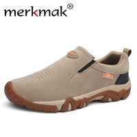 merkmak Comfortable Casual Shoes Men PU Leather Shoes High Quality Comfort Footwear Fashion Flat Loafers Shoe No Slip Boat Shoes
