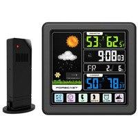 Estação meteorológica com tela sensível ao toque de alta definição sem fio estação previsão meteorológica indoor termômetro higrômetro barom