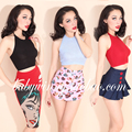 Palácio do Vintage 2015 outono nova sólida Top mulheres roupas Sexy moda Halter curto Feminino Strapless frete grátis