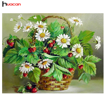 Huacan 5D Diamond Painting Full Drill Square Diamond Mosaic Sale Flower Diamond Embroidery Cross Stitch Fruit Decoration Kit