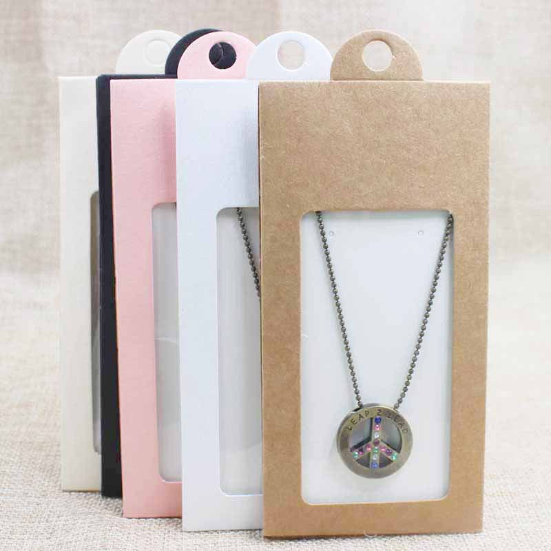 30PCS Multi Color Cardboard Jewelry Package& Display Window Hanger Box Gift Box Necklace /earring Jewelry Packing Hanger Box